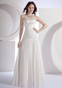 Pleat Prom Dress White Beading Strapless Chiffon Beading