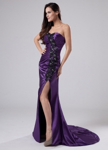 High Slit Prom Dress Beading Sweetheart Purple Brush/Sweep
