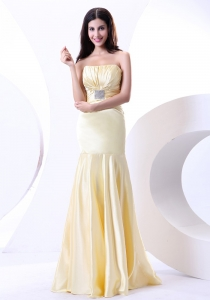 Light Yellow Prom Dress Beading Ruching Strapless Empire