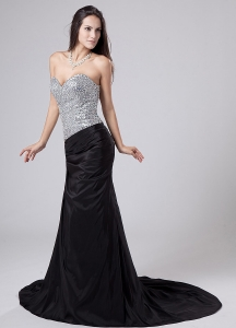 Sweetheart Side Zipper Prom Dress Beading Court Train Black