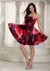 Printing Prom Cocktail Dress Colorful Mini-length Empire