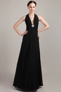 Black Ruched Evening Pageant Dress V-neck Halter Beading