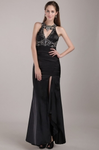 Scoop Evening Pageant Dress Rhinestones High Slit Black