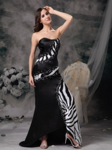 Satin Zebra Prom Celebrity Dress Black Brush Train Beading