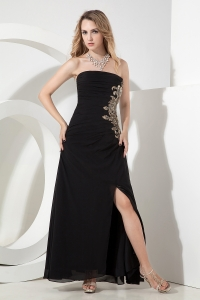 Appliques Celebrity Pageant Dress Black Empire Ankle-length