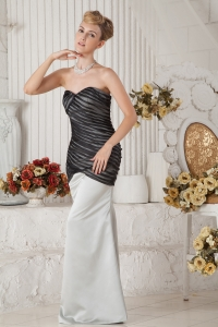 Black and White Mermaid Sweetheart Celebrity Pageant Dress