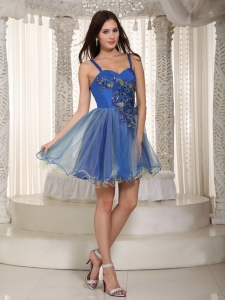 Straps Cocktail Holiday Dress Mini-length Blue Appliques