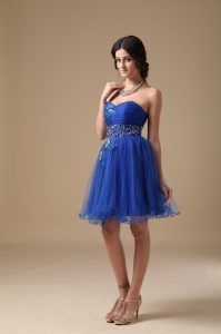 Royal Blue Mini-length Cocktail Holiday Dress Beading