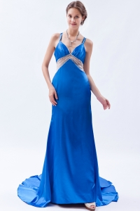 Straps Evening Celebrity Dress Blue Brush Train Beading