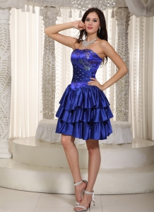 Embroidery Cocktail Graduation Dress Mini-length Royal Blue