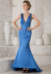 Mermaid Evening Pageant Dress V-neck Brush Train Ruch Blue
