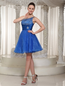Royal Blue One Shoulder Cocktail Holiday Dress Beaded Mini