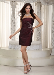 Beading Cocktail Graduation Dress Burgundy Mini-length