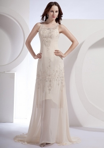 Champagne Prom Dress Beading Scoop Chiffon Brush Train