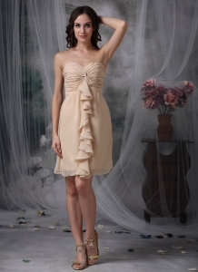 Mini Ruch Cocktail Homecoming Dress Champagne Sweetheart