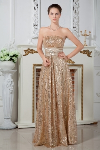 Sequin Celebrity Evening Dress Champagne Empire Beading