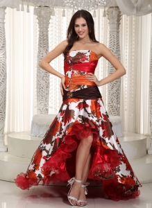 Organza Printing Celebrity Pageant Dress Colorful High-low