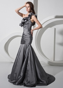 One Shoulder Prom Dress Column Beading Sweep Train