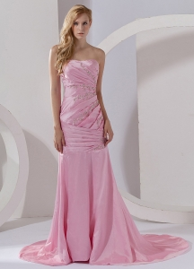 Baby Pink Prom Dress Court Train Beading Column Ruch