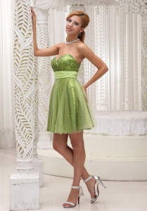 Sequin Tulle Homecoming Cocktail Dress Sash Olive Green