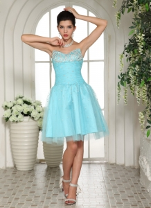 Sweetheart Homecoming Dress Aqua Blue Knee-length Beaded