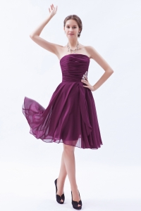 Appliques Ruch Dama Dress Dark Purple Chiffon Knee-length