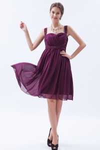 Dark Purple Knee-length Dama Dress Beading Ruch Straps