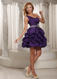 One Shoulder Homecoming Dress Eggplant Purple Beading