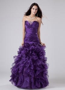 Organza Ruffles Prom Dress Purple Beading Strapless A-line