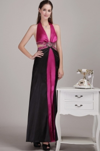Fuchsia and Black Evening Pageant Dress Halter Beading