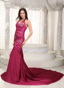 Chapel Train Celebrity Pageant Dress Burgundy Mermaid Halter