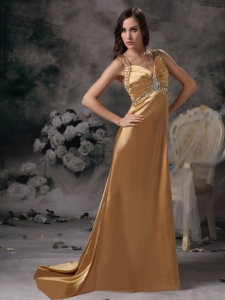 Gold Straps Evening Pageant Dress Brush Train Beading