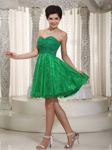 Tulle and Sequin Prom Cocktail Dress Green Ruch Mini-length