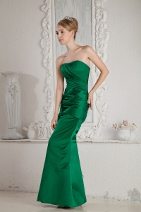 Ruched Celebrity Pageant Dress Green Mermaid Strapless