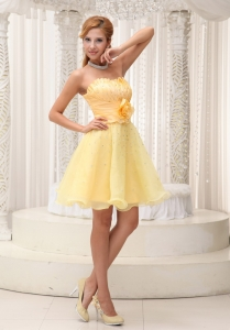 Handle Flower Homecoming Cocktail Dress Light Yellow Beaded