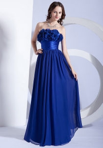Belt Royal Blue Prom Dress Hand Made Flowers Empire
