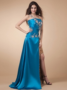 One Shoulder Prom Dress Teal High Silt Appliques Ruch