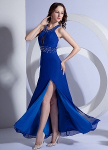 High Slit Ankle-length Prom Dress A-Line Beading Royal Blue
