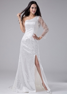 One Shoulder Long Sleeve Prom Dress High Slit Sequins White