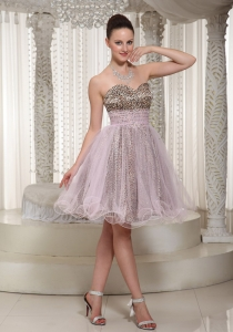Leopard Organza Prom Homecoming Dress Light Pink Short