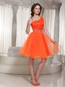 Orange Prom Homecoming Dress One Shoulder Strap Beading
