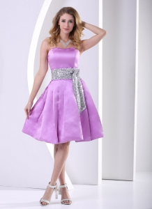 Silver Sequins Sash Dama Dress Lavender A-line Knee-length