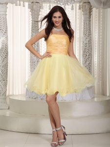 Ruching Dama Dress Light Yellow A-line / Princess Mini-length