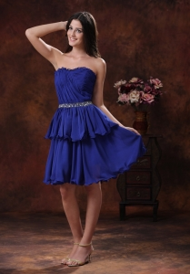 Royal Blue Dama Dress for Quinces Beading Mini-length