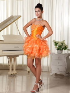 Mini-length Orange Homecoming Cocktail Dress Beading Ruffles