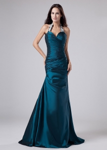 Peacock Green Halter Prom Dress Appliques Ruching Taffeta
