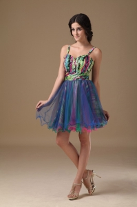 Organza Printing Beading Cocktail Holiday Dress Multi-color