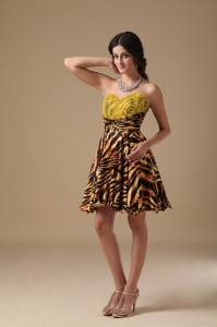 Leopard Cocktail Homecoming Dress Multi-color Mini-length