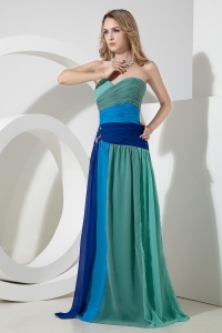 Multi-color Ruching Celebrity Pageant Dress Beading Sweetheart
