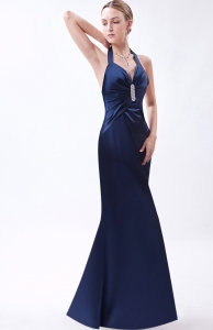 Halter Top Navy Blue Evening Pageant Dress Beading Ruching
